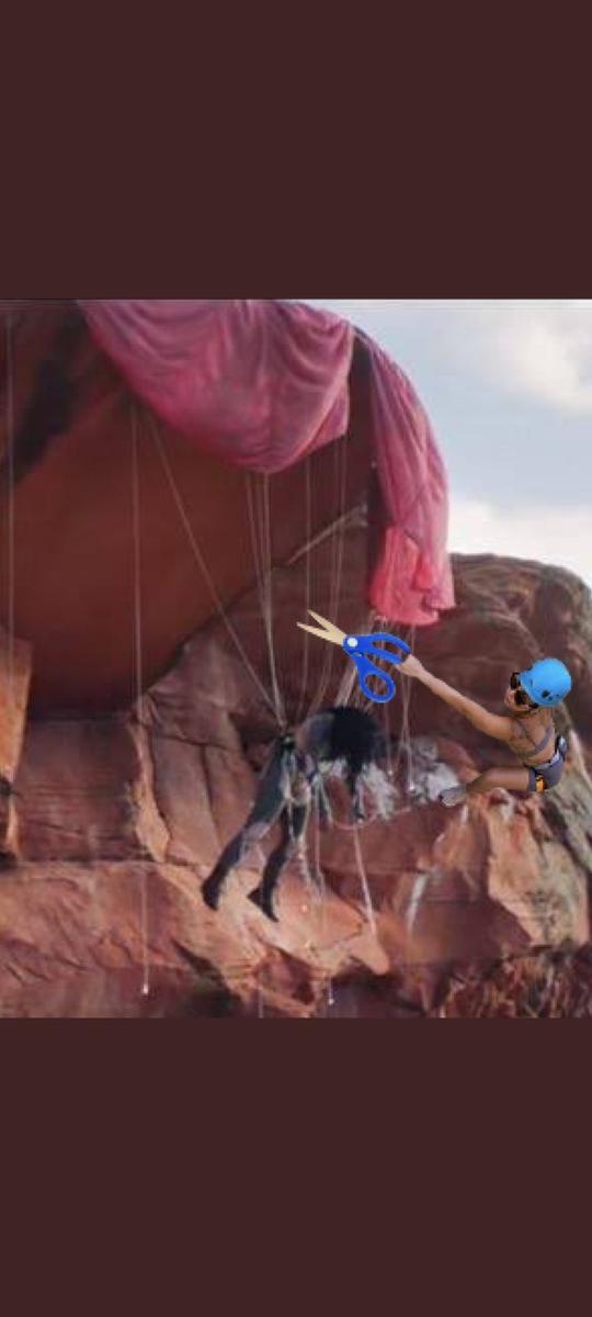 Gaga cutting Katy's parachute